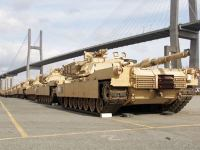 Tanks of 2nd Brigade Combat Team, 3rd Infantry Division, lined up at the port of Savannah, USA during port operations conducted in preparation of the exercise Defender Europe 20 deployment.