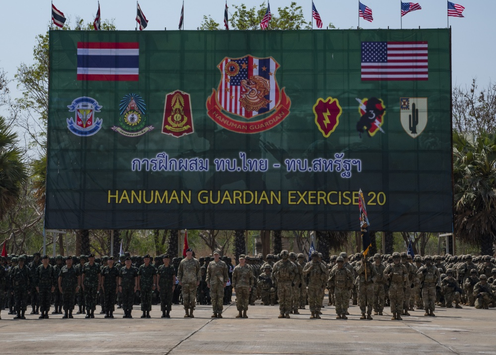 Soldiers from 2nd Battalion, 35th Infantry Regiment, 25th Inf. Division, and their counterparts from the 23rd Inf. Reg., 4th Bat., Royal Thai Army, officially started Exercise Hanuman Guardian 20 at an opening ceremony Feb. 24, 2020 at Camp Friendship in Korat, Thailand.