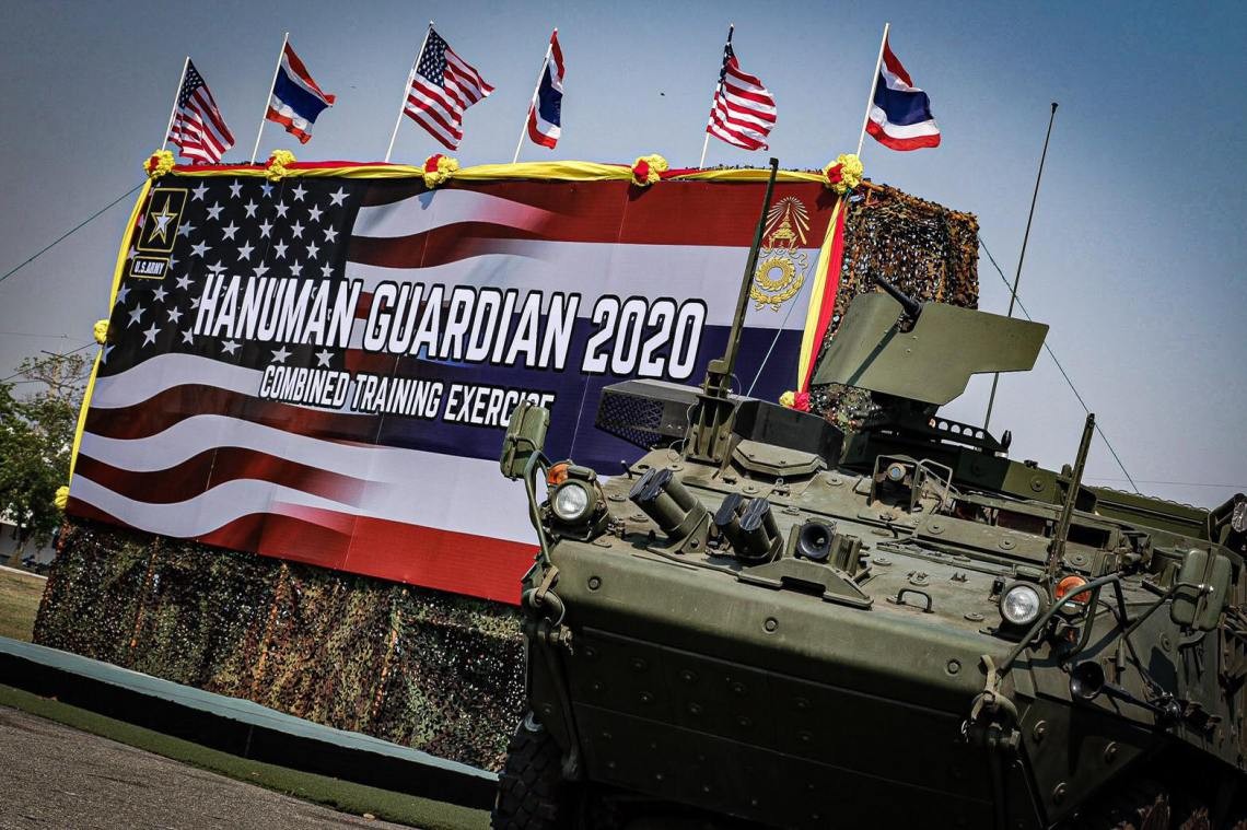 Royal Thai Army Stryker stand ready during the opening ceremony for Exercise Hanuman Guardian 20 at Camp Friendship in Korat, Thailand.