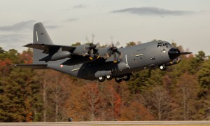 French Air Force (Armée de l'Air) second KC-130J Super Hercules aerial refueler takes off from Lockheed Martin's facility in Marietta, Georgia