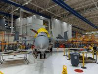 An F/A-18 Super Hornet undergoes Service Life Modification at The Boeing Company's St. Louis facility