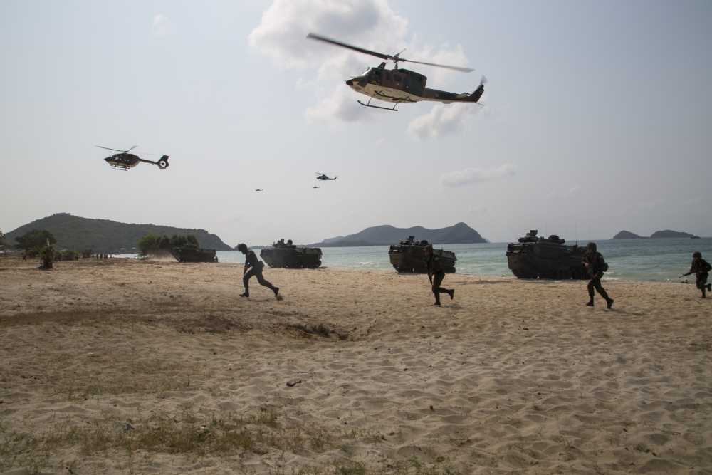 U.S., Republic of Korea, and Royal Thai Marines conduct an amphibious assault rehearsal during Cobra Gold 19 at Hat Yao Beach, Kingdom of Thailand, Feb. 15, 2019.