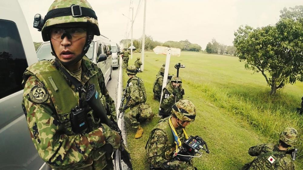 Japan Ground Self Defense Force members participate in the non-combative evacuation (NEO) portion of the Cobra Gold 19 exercise.