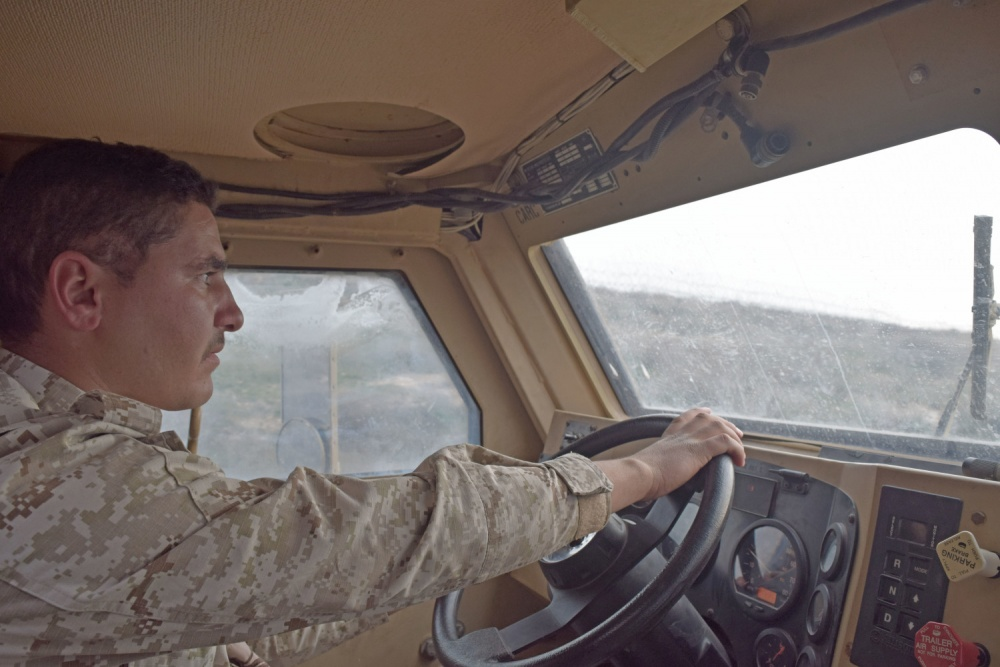 A Jordan Armed Forces-Arab Army (JAF) Soldier drives a Mine Resistant Ambush Protected Wheeled Armor Vehicle at a base outside of Amman, Jordan in January.