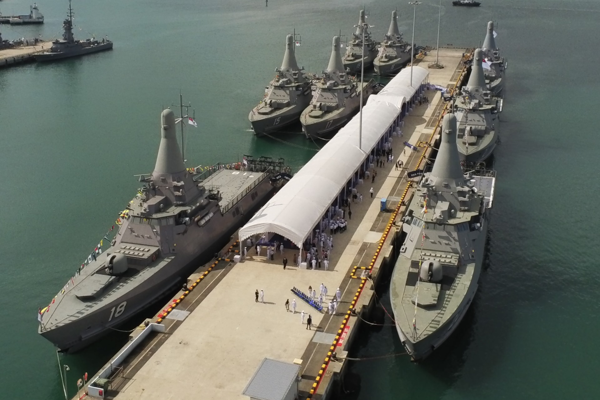 Republic of Singapore Navy Independence-class littoral mission vessels at Tuas Naval Base.