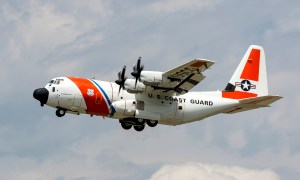 The first U.S. Coast Guard HC-130J outfitted with the Block 8.1 upgrade takes flight.