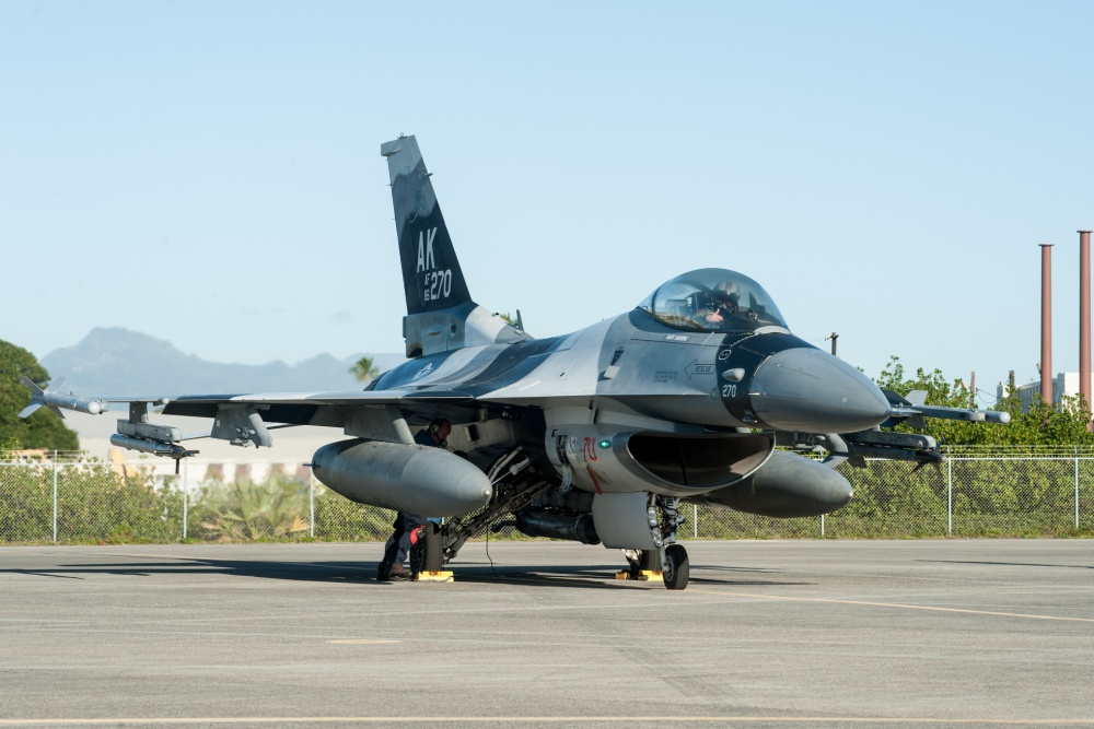 An F-16 Fighting Falcon from the 18th Aggressor Squadron prepares for flight Feb. 4, 2020, at Joint Base Pearl Harbor-Hickam, Hawaii.