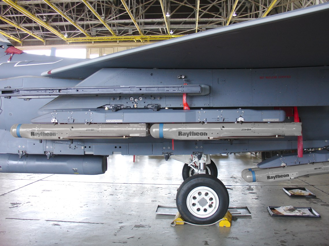 Locked and loaded, the F-15E fighter aircraft can carry seven groups of four StormBreaker smart weapons, for a total of 28 munitions.
