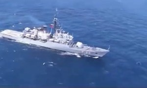 Venezuelan Navy Almirante Brion (F-22) launched a MBDA Otomat missile