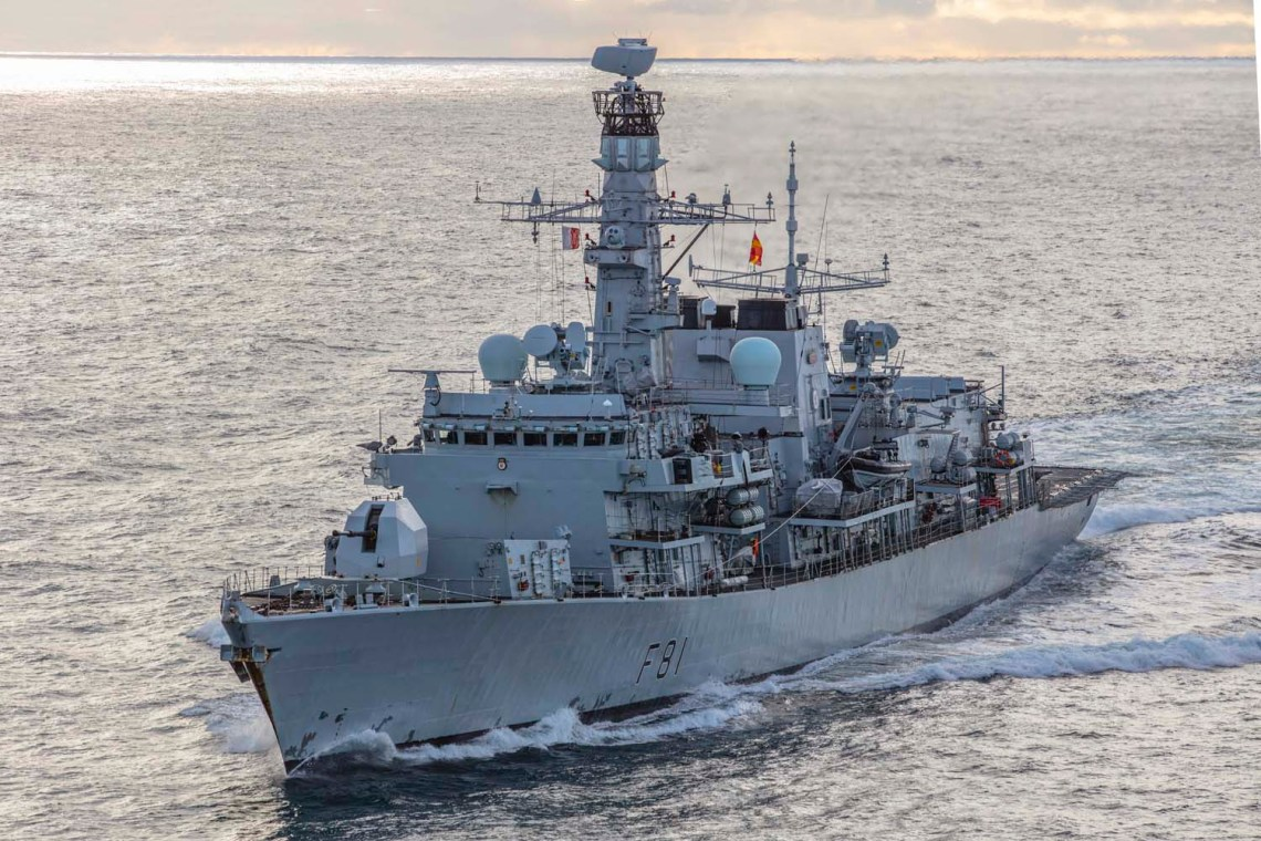 HMS Sutherland has been shadowing seven Russian ships alongside eight other Royal Navy vessels in UK waters