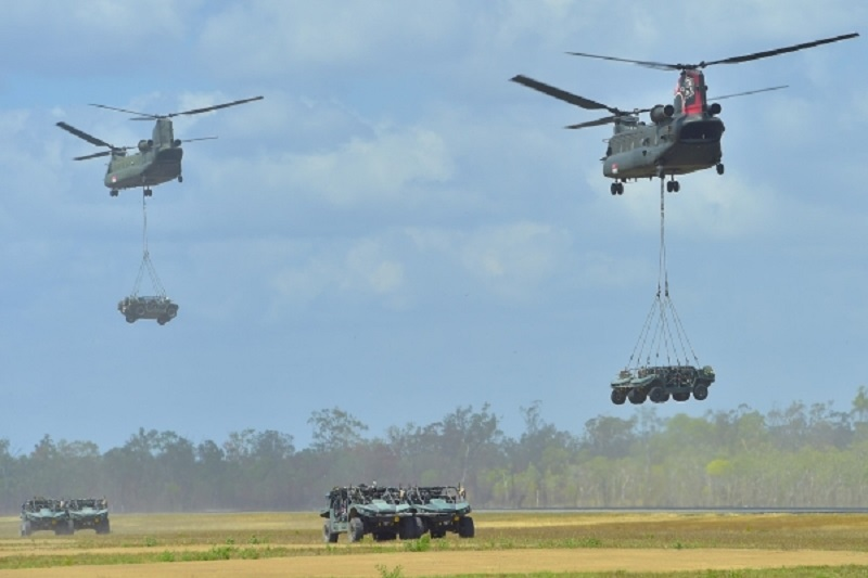 Singapore Armed Forces (SAF) Light Strike Vehicles Mark II (LSV MK II) training in Exercise Wallaby 2017 at the Shoalwater Bay Training Area (SWBTA) in Queensland, Australia