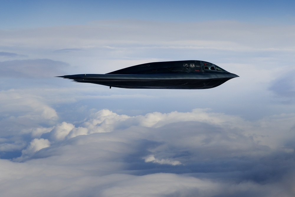 A B-2A Spirit bomber assigned to the 509th Bomb Wing conduct aerial operations in support of Bomber Task Force Europe 20-2 over the North Sea March 12, 2020.