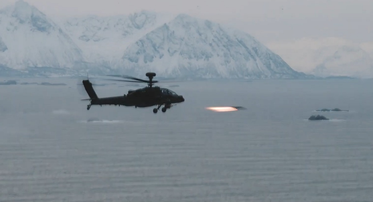 British Army Apache Launch Hellfire in Arctic