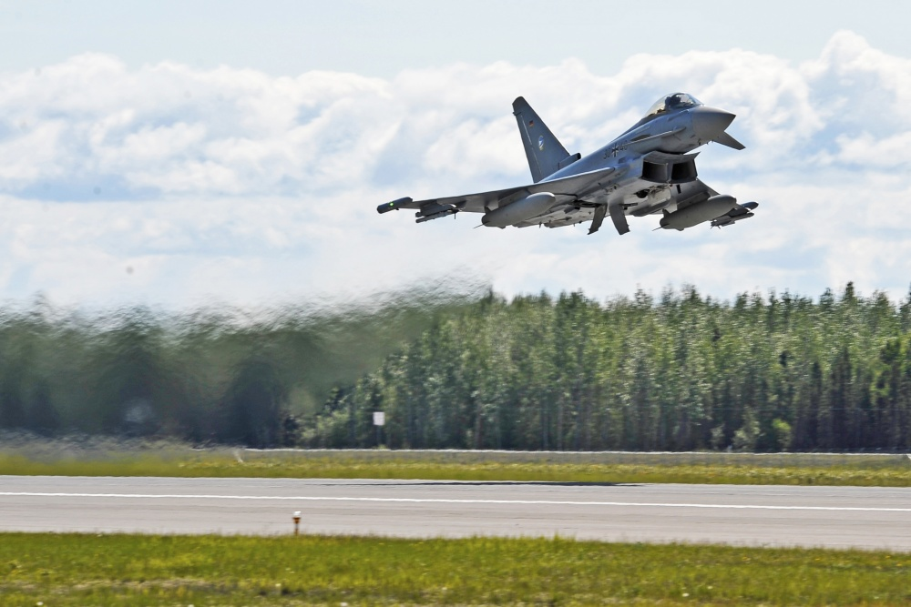 German Air Force Eurofighter Typhoon launches from the runway, Eielson Air Force Base, Alaska.
