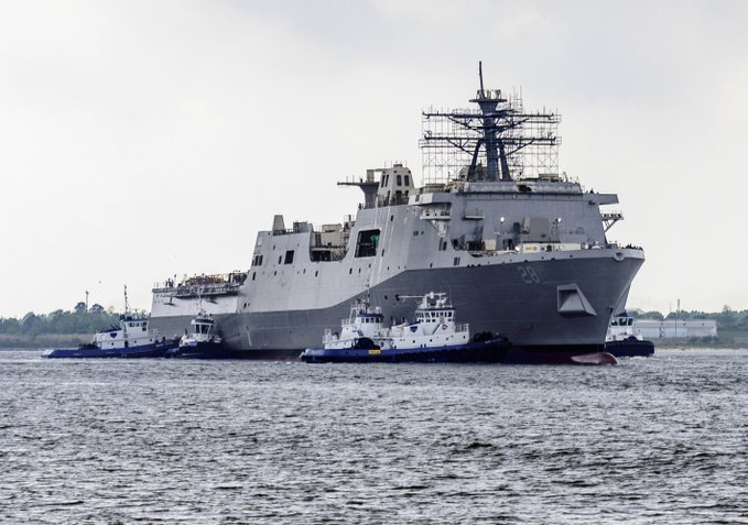The future USS Fort Lauderdale shortly after its launch at HII's Ingalls Division in Pascagoula, Miss. This will be the US Navy's 12th San Antonio-class amphibious transport ship. (USN photo)