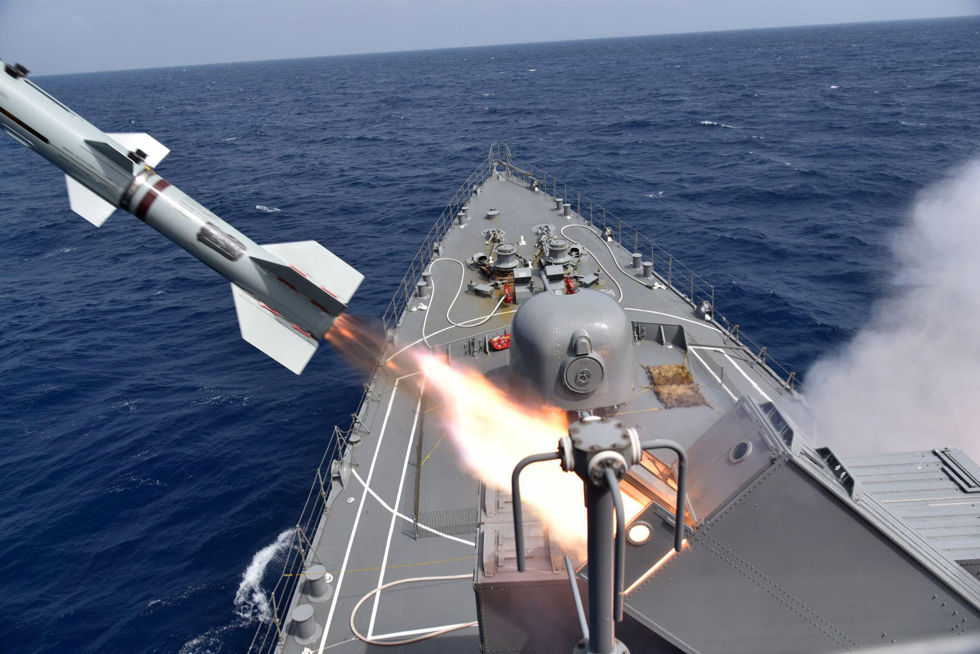 Japan Maritime Self-Defense Force JS SHIMAYUKI (TV 3513) RUR-5 ASROC anti-submarine rocket system