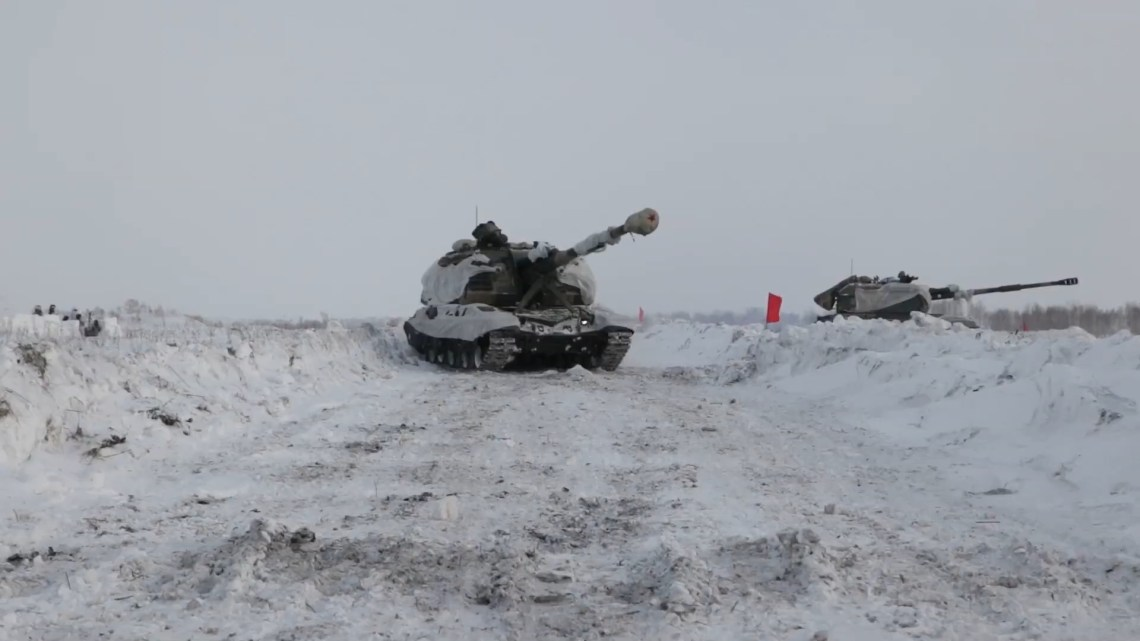 Msta-S Self-Propelled Howitzers Live Fire Exercise in Siberia