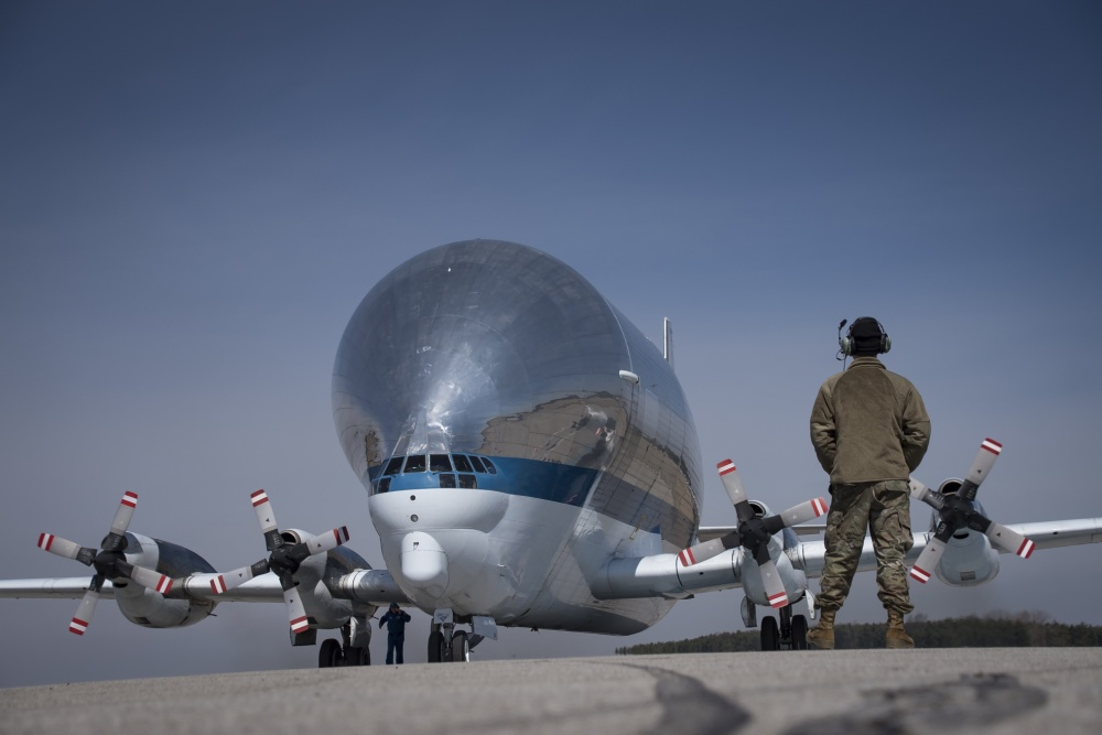 The 179th Airlift Wing is assisting the NASA Super Guppy in transporting parts of the Orion Space Project that recently completed testing at the Glenn Research Center in Sandusky, Ohio.