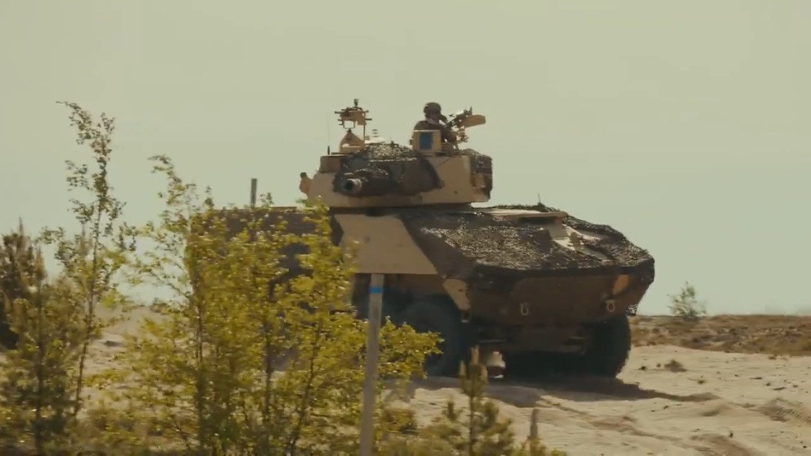 Patria AMVxp Tank Destroyer being fitted with Leonardo's HITFAC turret, armed with a 120 mm smoothbore gun.