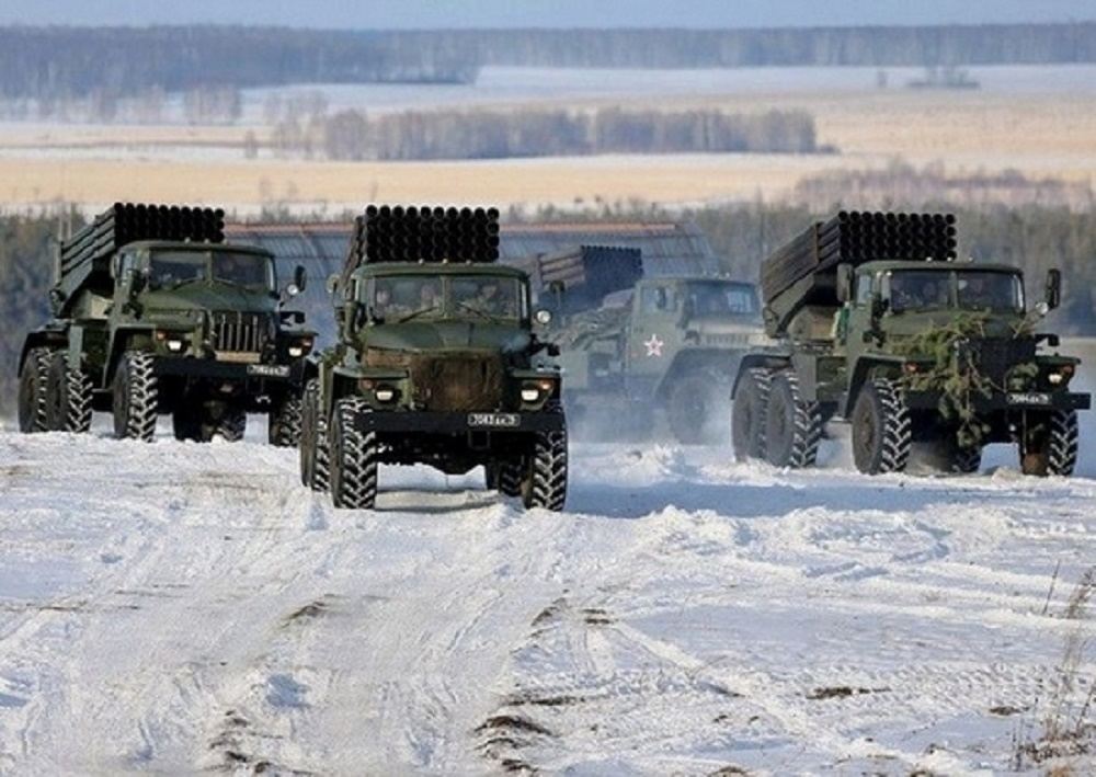 Russian Southern Military District Tornado-G Multiple Launch Rocket Systems Test Firing