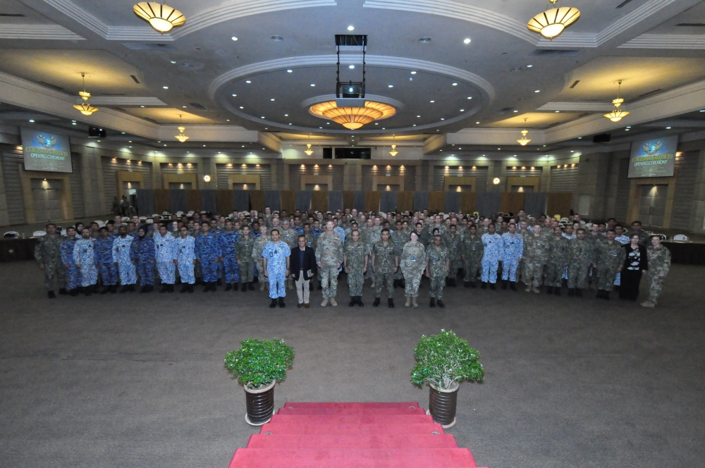 Bersama Warrior exercise participants gather during the exercise's opening ceremony on March 11, 2020 at the Malaysia Armed Forces Joint Force Headquarters in Kuala Lumpur. Bersama Warrior is an annual joint and bilateral exercise sponsored by U.S. Indo-Pacific Command and hosted by the Malaysian Armed Forces.