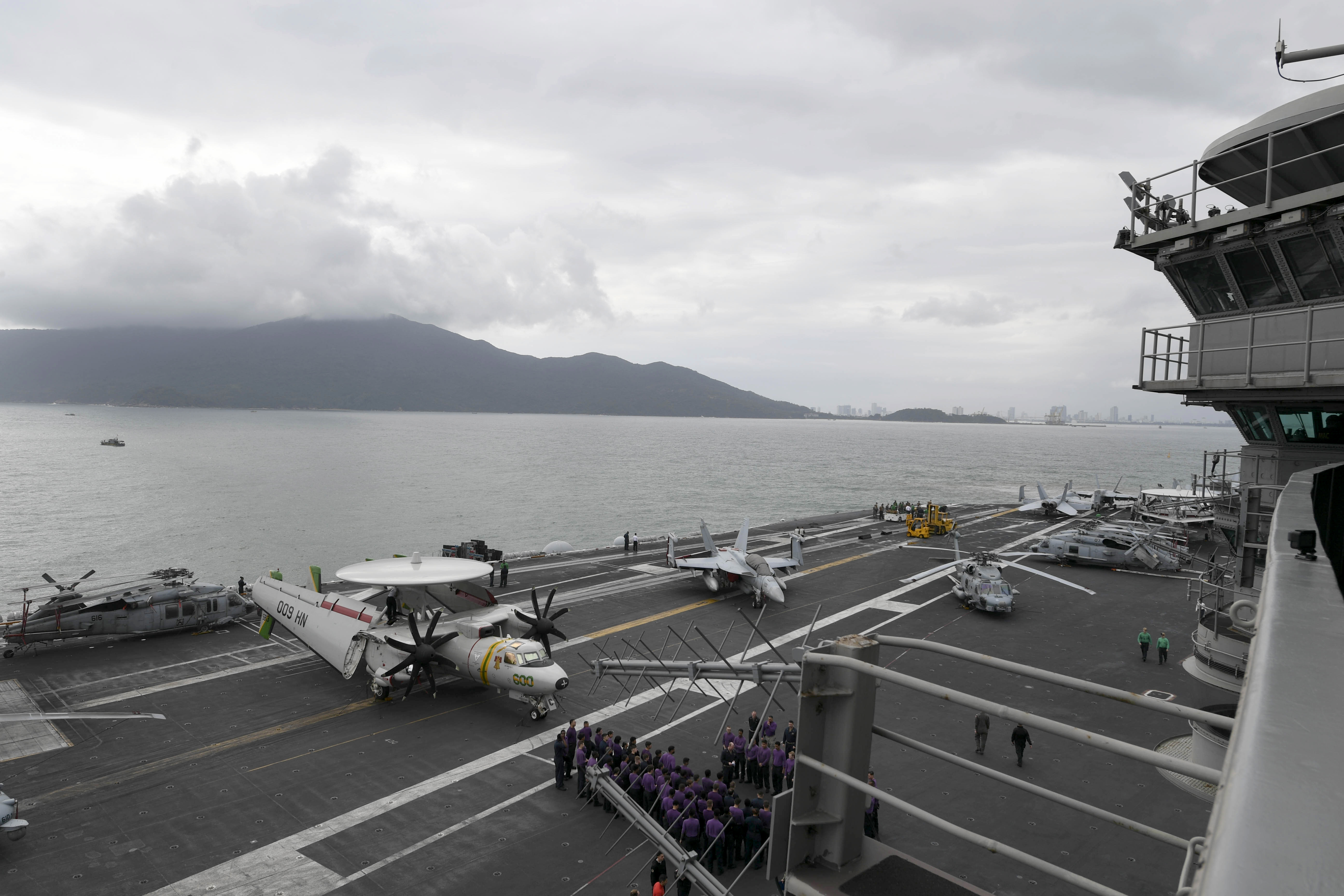 The aircraft carrier USS Theodore Roosevelt (CVN 71) arrives in Vietnam, March 5, 2020.