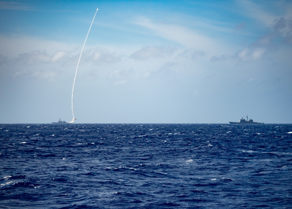 The Arleigh Burke-class guided-missile destroyer USS Barry (DDG 52) launches a missile during a live-fire exercise. Barry is underway conducting operations in support of security and stability in the Indo-Pacific while assigned to Destroyer Squadron 15 the Navy's largest forward-deployed DESRON and the U.S. 7th Fleet's largest principal force. (U.S. Navy photo by Mass Communication Specialist Seaman Askia Collins)