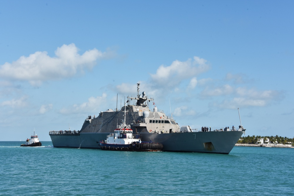 Freedom-class littoral combat ship USS Detroit (LCS 7) enters Naval Air Station Key West's Truman Harbor during a port visit to conduct emergent repairs. (U.S. Navy photo by Danette Baso Silvers/Released)