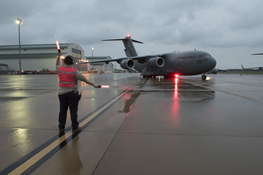 The 167th Airlift Wing transported just over one million COVID-19 test kits from Aviano Air Base, Italy to Memphis, Tenn., April 16, 2020. The test kits, which are maunufactured in Italy, will be distributed throughout the nation from the Fed Ex hub in Tennessee. Eighteen pallets filled the cargo compartment of the C-17 Globemaster III aircraft, crewed by seven 167th AW Airmen. (U.S. Air National Guard photos by Senior Master Sgt. Emily Beightol-Deyerle)