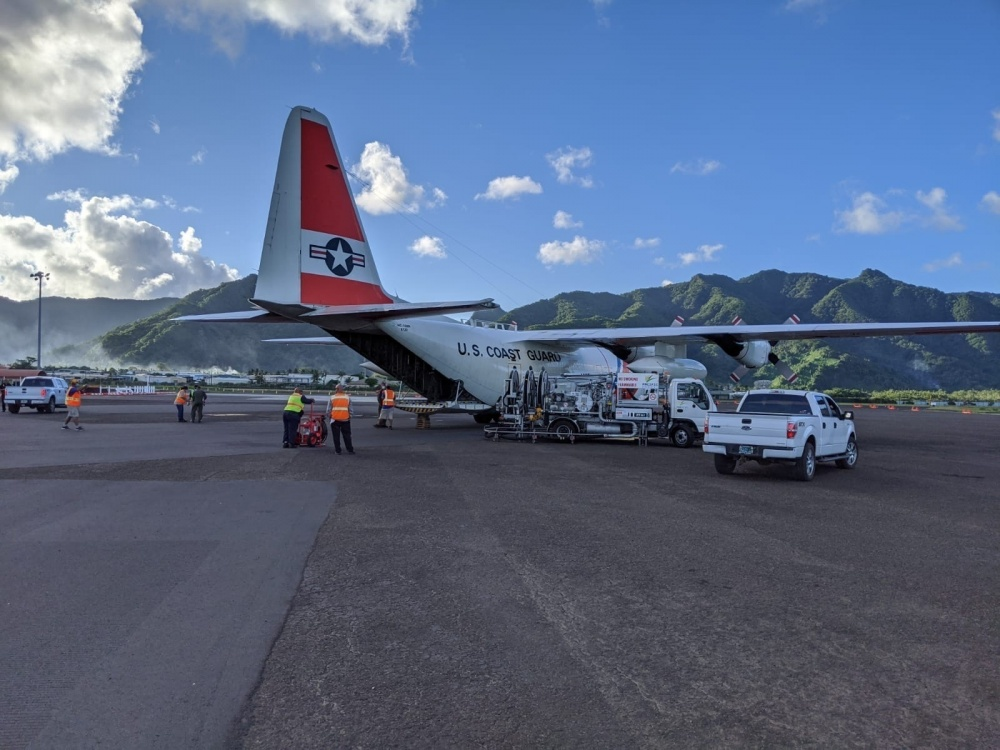 A U.S. Coast Guard HC-130 Hercules airplane crew brought various supplies to American Samoa, April 1, 2020. Working in concert with FEMA and the U.S. Air Force, logistics were coordinated to ensure the timely and successful delivery of supplies including medical supplies from the Strategic National Stockpile. (U.S. Coast Guard photo by Lt. Cmdr. Karl Savacool/Released)
