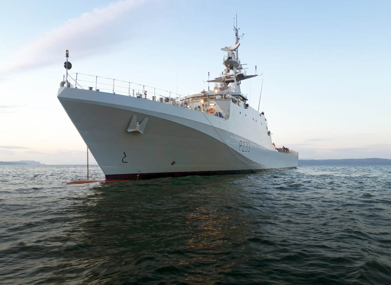 Royal Navy HMS Tamar Offshore Patrol Vessel Makes Her Portsmouth Debut