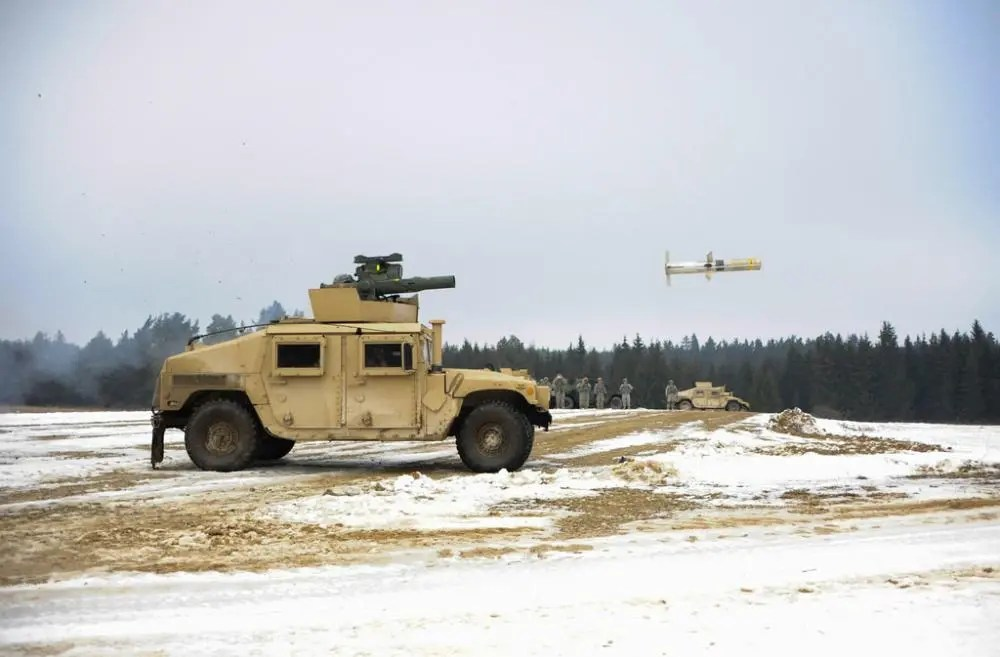 A TOW 2B missile is fired during an exercise at the Joint Multinational Training Command in Grafenwoehr, Germany.