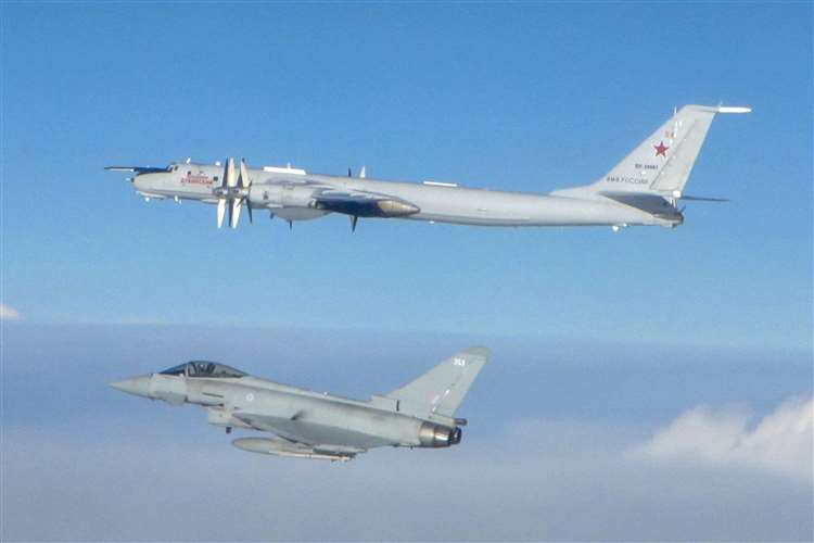 RAF Typhoon FGR4's from RAF Lossiemouth were also scrambled to monitor Russian Tu-142 Bear Maritime Patrol Aircraft in the UK area of interest