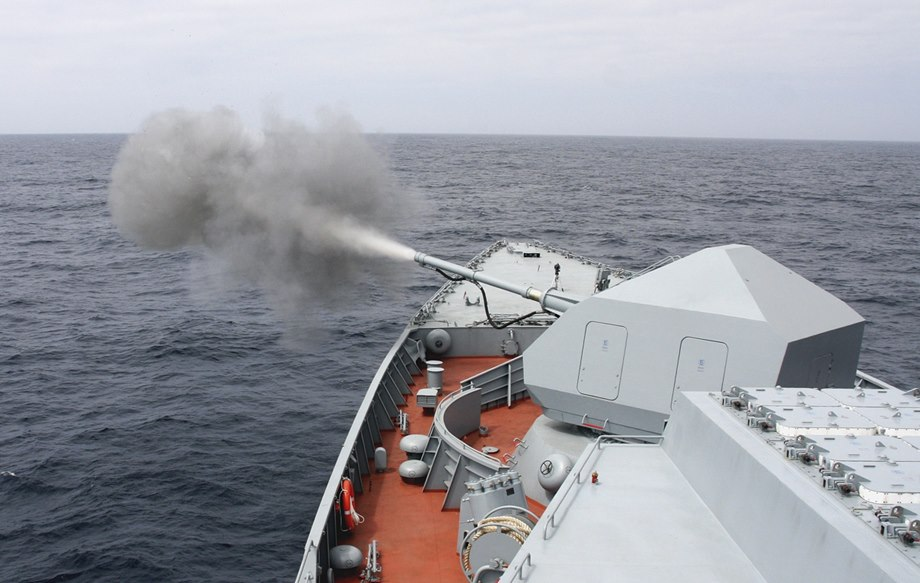 Russian Navy Black Sea Fleet Frigates Conducted Artillery Fire in Crimea