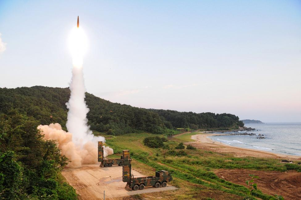 Hyunmoo-2 ballistic missile is fired during a military exercise at an undisclosed location in South Korea. (Picture source South Korean Defense Ministry)