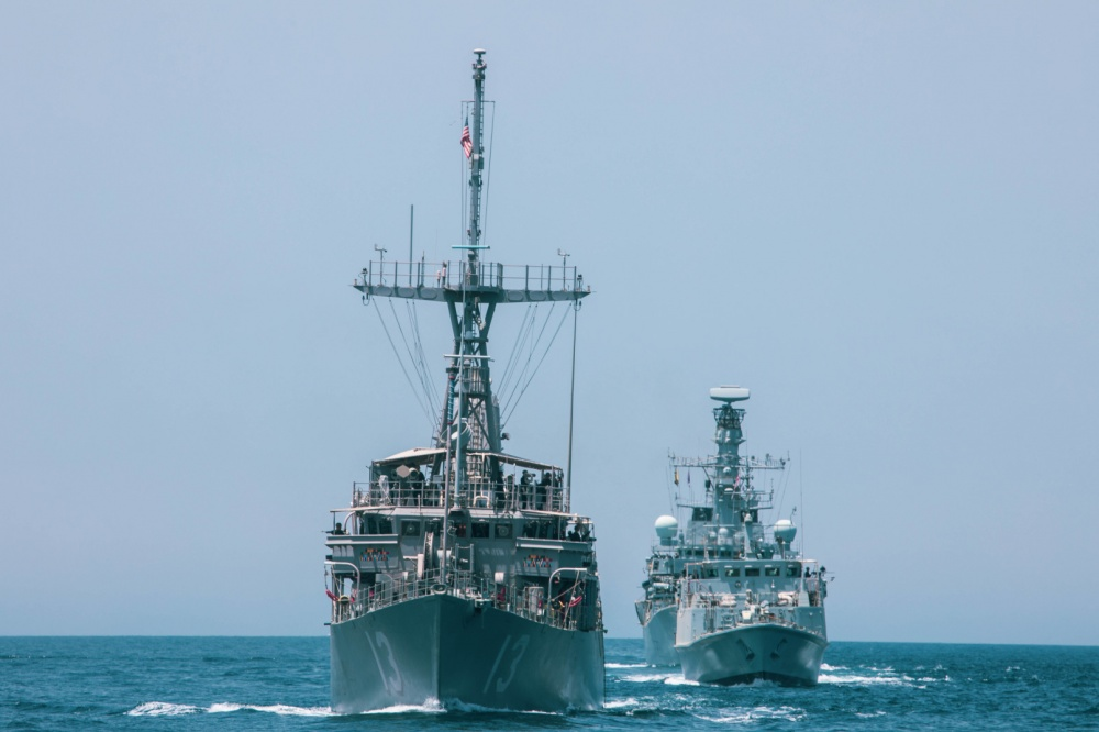 The HMS Argyll, HMS Shoreham and the mine countermeasures ship USS Dextrous (MCM 13) participate in the bilateral Mine Countermeasures Exercise 2020 (MCMEX 20) with the mine countermeasures ship USS Gladiator (MCM 11) in the Arabian Gulf, March 28. Gladiator is forward-deployed to the U.S. 5th Fleet area of operations in support of naval operations to ensure maritime stability and security in the Central region, connecting the Mediterranean and the Pacific through the Western Indian Ocean and three strategic choke points. (U.S. Army photo by Pfc. Christopher Cameron)