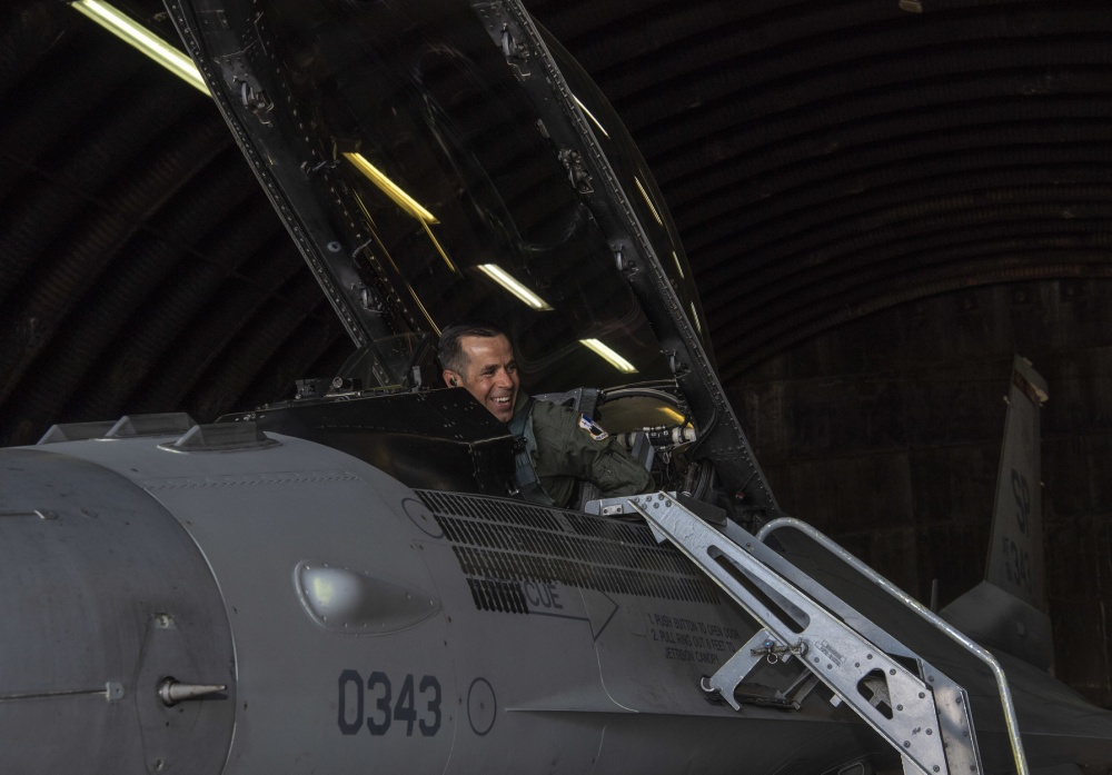 U.S. Air Force Col. Jason Hokaj, 52nd Fighter Wing vice commander, prepares for take-off in aircraft 343, a F-16 Fighting Falcon, at Spangdahlem Air Base, Germany, April 23, 2020. Later that day, Hokaj piloted aircraft 343 past the aircraft's 10,000 flight hours milestone. U.S. Air Force photo by Senior Airman Kyle Cope)