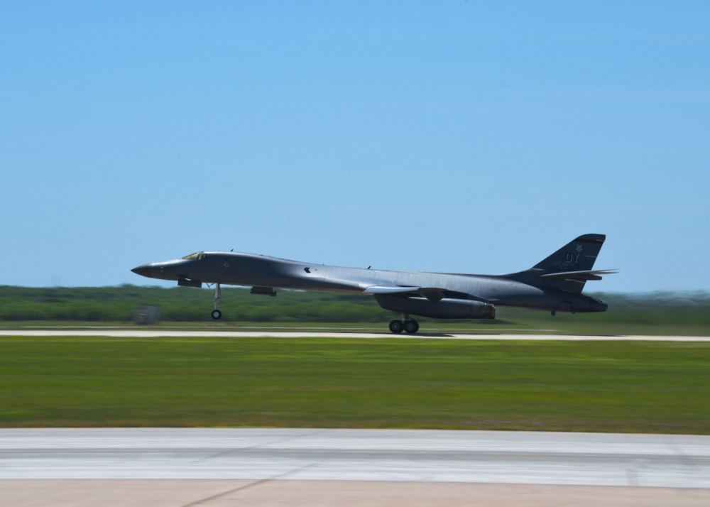 A B-1B Lancer takes off for a bomber task force mission at Dyess Air Force Base, Texas April 30, 2020. Altogether, four B-1Bs deployed to Andersen Air Force Base, Guam in support of the U.S. Strategic Command BTF missions to deny or disrupt threats and assure allies and partners. (U.S. Air Force photo by Senior Airman Mercedes Porter)