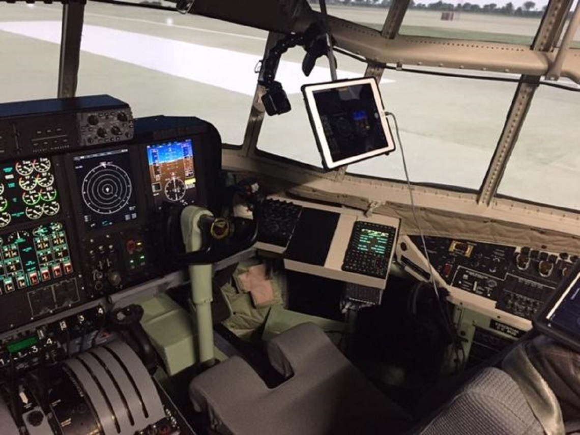 The view from one of the GoPro cameras installed in the C-130T Avionics Obsolescence Upgrade Operational Flight Trainer. The cameras allowed remote observation of live software tests by engineers in Maryland, New York, North Carolina, and Texas over a two-day period. (U.S. Navy photo)