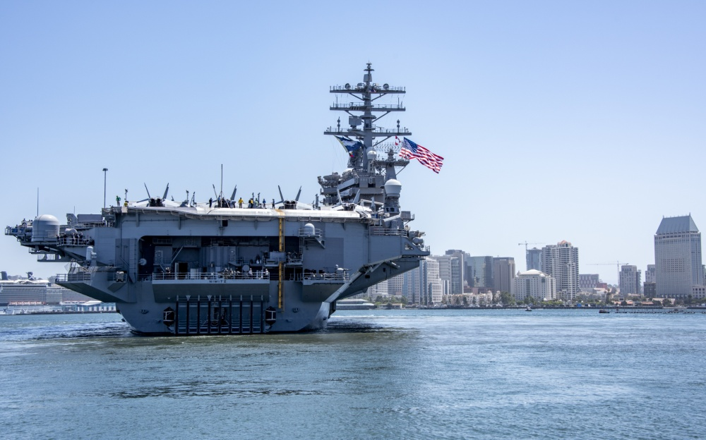 Aircraft carrier USS Nimitz (CVN 68) departs Naval Air Station North Island June 8. Nimitz and elements of the Nimitz Carrier Strike Group (CSG), deployed from San Diego in support of global maritime security operations. (U.S. Navy photo by Mass Communication Specialist 2nd Class Natalie M. Byers)