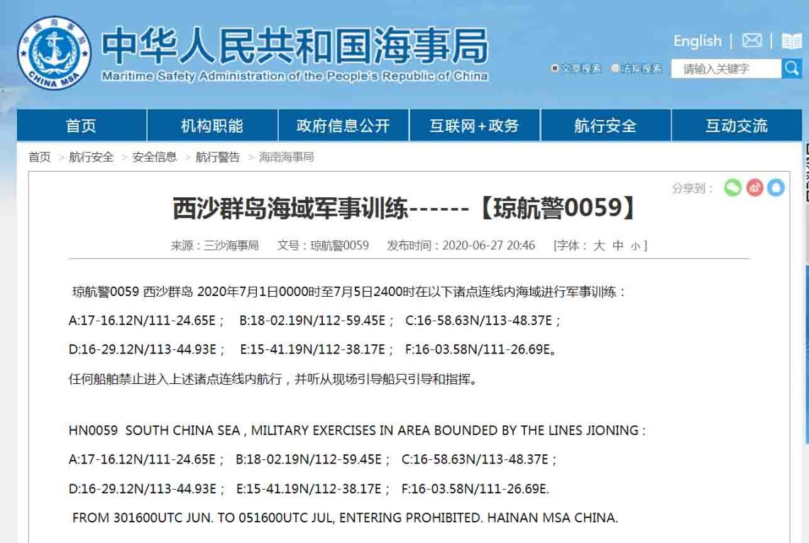 Chinese PLA Navy Announces Military Exercise Near Parcel Islands in South China Sea