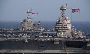For the First Time USS Gerald R. Ford Steams Alongside USS Harry S. Truman