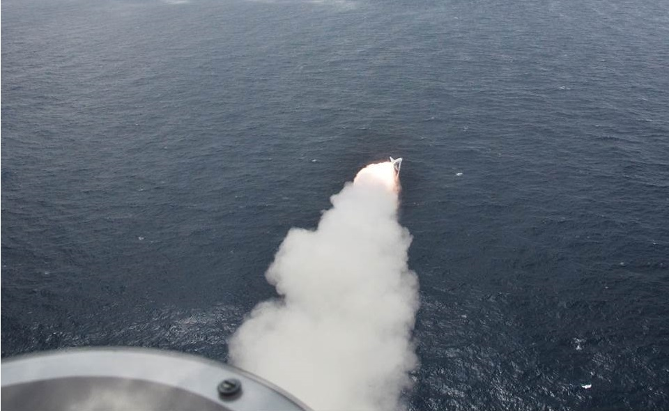 French Navy Atlantic 2 fired an AM39 Exocet anti-ship missile.