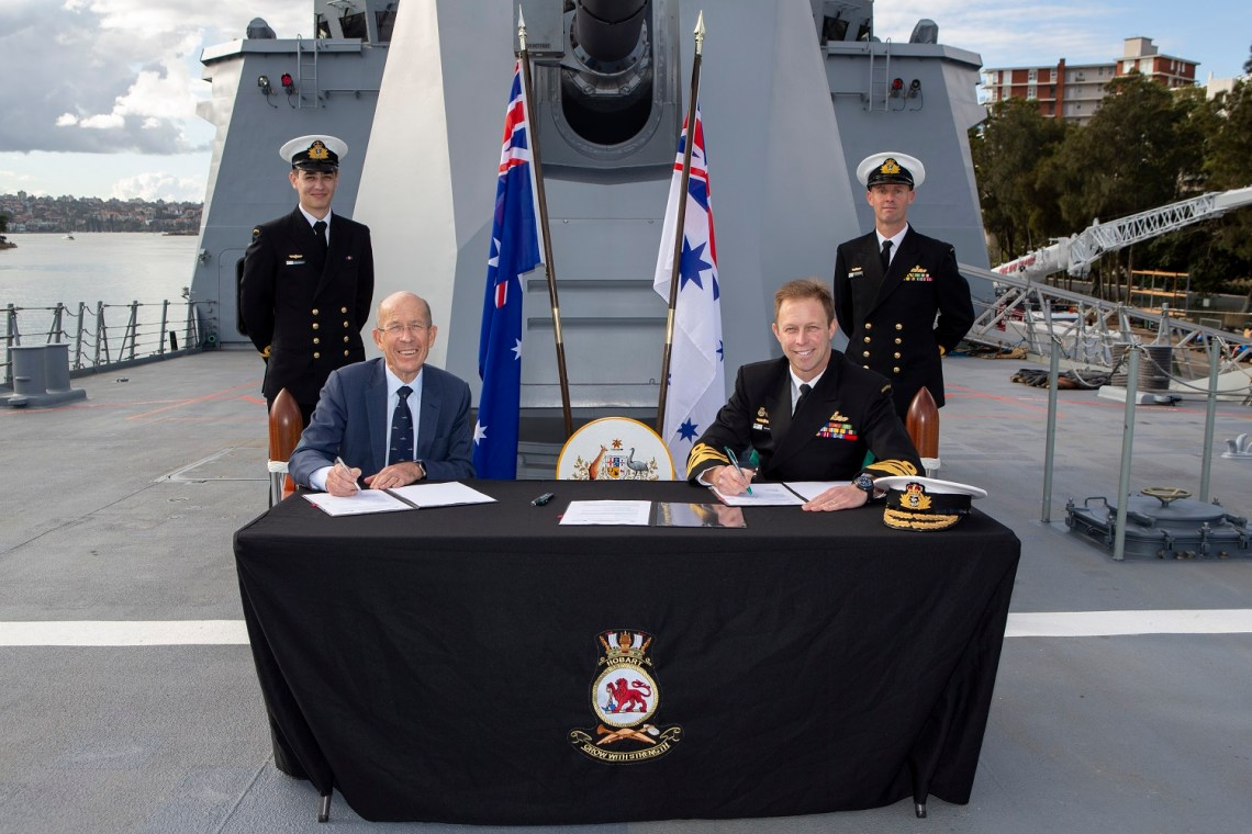 The Chief of Navy, Vice Admiral Mike Noonan AO,RAN, and the Chairman of Navantia Australia, Mr Warren King sign a Principles for Strategic Agreement onboard HMAS Hobart alongside Garden Island, Sydney.