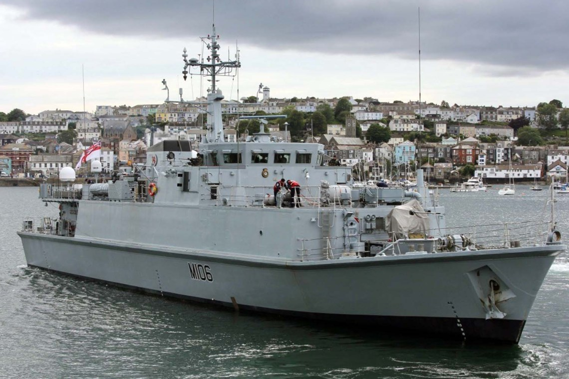 Royal Navy HMS Penzance (M106) Sandown-class minehunter
