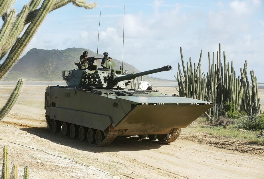 VN16 Amphibious Light Tank armed with a 105mm low-recoil rifled gun, a 7.62mm coaxial machinegun, and QJC-88 12.7mm anti-aircraft machinegun.