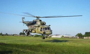Russian Mi-8T Helicopters Carry Out Target Practice in Kurgan Region