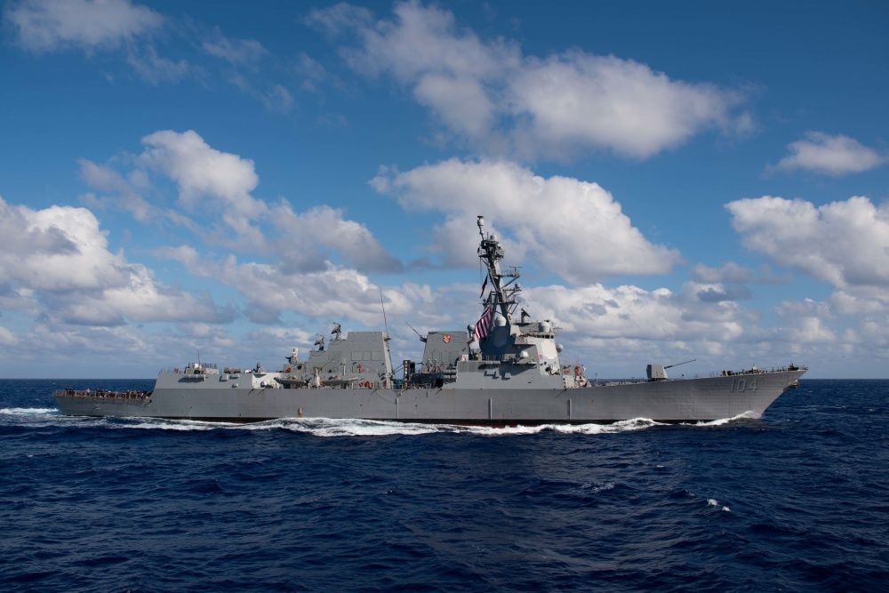The Arleigh Burke-class guided-missile destroyer USS Sterett (DDG 104) steams in the Pacific Ocean. Sterett is part of the Nimitz Carrier Strike Group and is deployed in support of maritime security operations and theater security cooperation efforts. (U.S. Navy photo by Mass Communication Specialist 2nd Class Logan C. Kellums/Released)