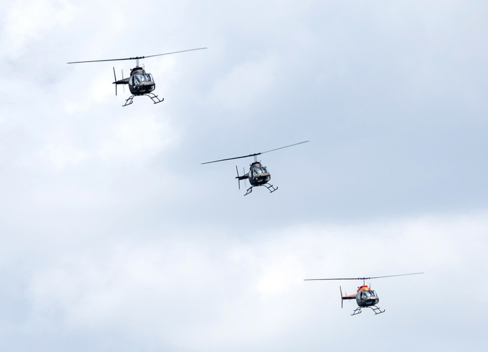 Eight 1st Battalion, 5th Aviation Regiment, pilots fly the retiring OH-58 Kiowa helicopters over Fort Polk July 9. The pilots are flying in a V formation while conducting two figure eights in the Fort Polk