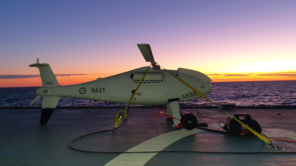 Royal Australian Navy HMAS Ballarat Tests S-100 Camcopter Unmanned Aerial Vehicle